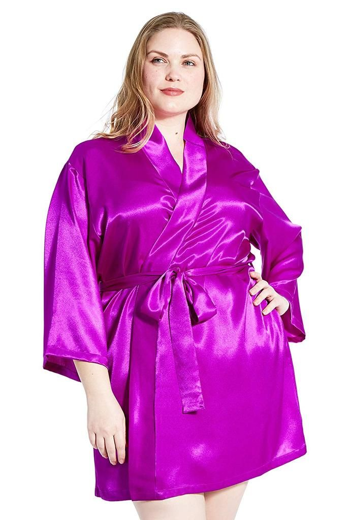 26ea894cd1 Jovannie Women's Satin Plus Size Kimono Robe With Matching Sash ...