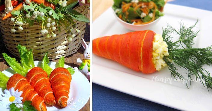 Veľkonočné mrkvičky, ktoré v skutočnosti nie sú mrkvami, ale chutným chrumkavým cestom naplneným šalátom, nás zaujmú nielen svojím vzhľadom, ale aj chuťou!