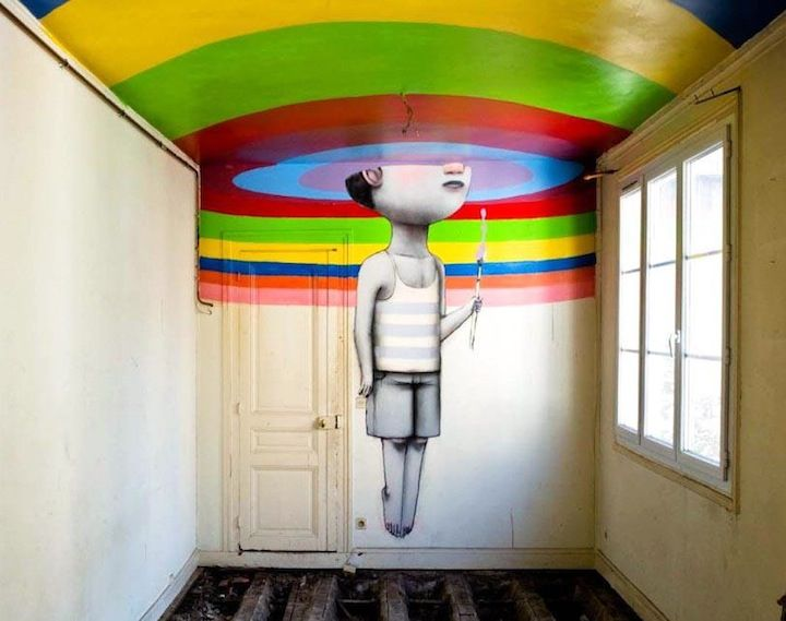 "Parisian street artist Julien ""Seth"" Malland calls himself Globepainter because his work has taken him all over the world. Most recently, he created a whimsical piece in his hometown of Paris, joining 50 of the world' finest street artists in turning an old nightclub into an art gallery."