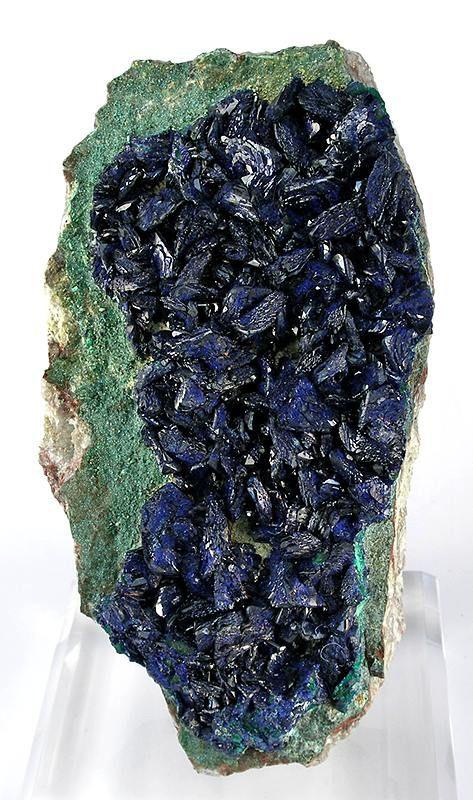 Azurite on chrysocolla-coated Malachite with druse of light green malachite under the azurite