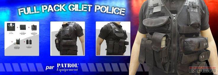 Gilet police tactique avec accessoires.