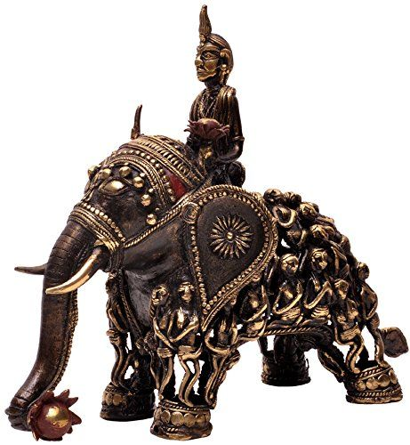 SouvNear Kamdev on Elephant - 7.8 Pound Bronze Sculpture of Kamdev, the Kamasutra God of Love Seated on an Elephant with Female Figurines - 'Lost Wax' Dhokra Tribal Art Statues from India - 12.5 Length x 11 Height x 7 Width Inches SouvNear http://www.amazon.com/dp/B00GN905A2/ref=cm_sw_r_pi_dp_ksU7tb1R4W04R