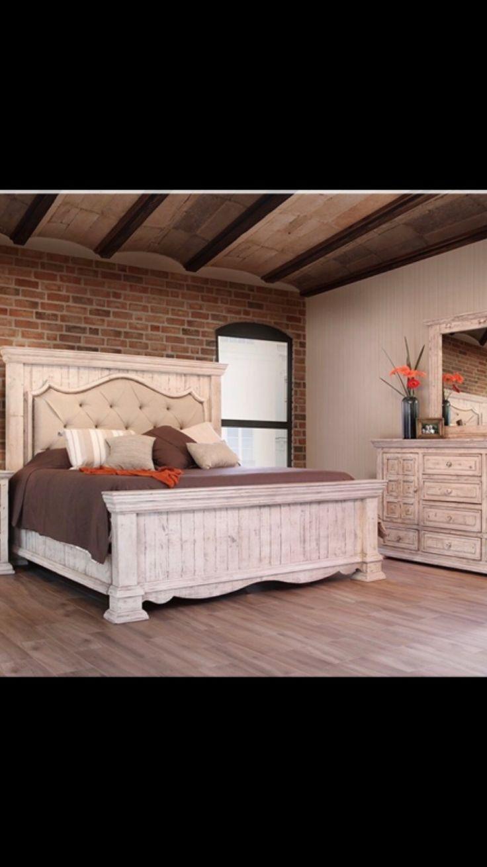 Farmhouse Tufted Bedroom Set #distressed White #tufted Headboard  #ifurnitureandmore.com #farmhouse