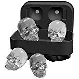 BeFound Cool 3D Skull Ice Cube Tray Resuable Flexible Silicone Mold 4 Giant Skulls Maker with Lid for Whisky Cocktail Cola Wine Drink
