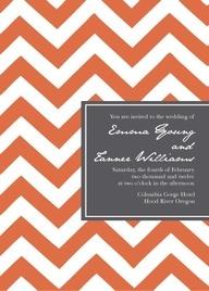 Chevron wedding invitation; not orange but I love the combination