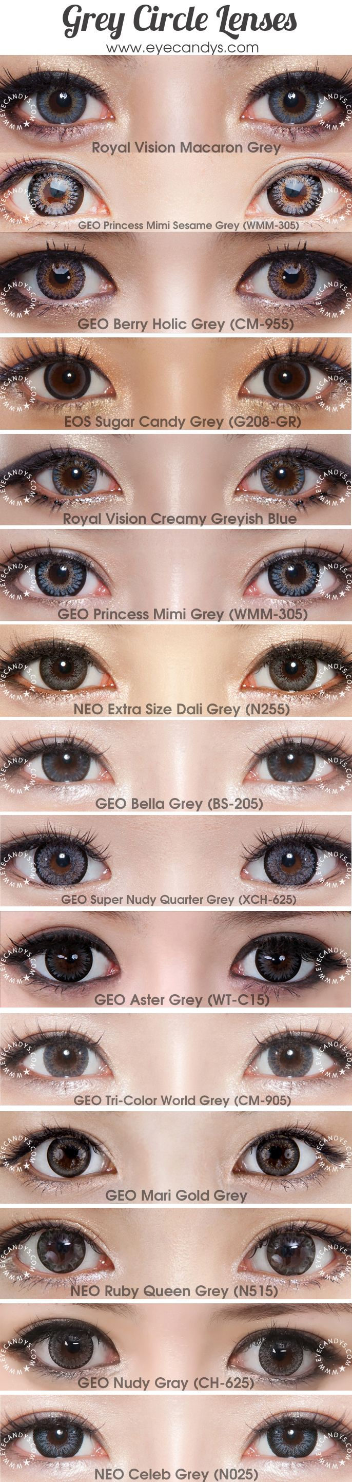 Mysterious smokey gray colored contact lens (cosmetic circle lenses) will give your eyes a glittering effect. Perfect for dolly or sexy looks. Shop authentic circle lenses now with Free Worldwide Delivery! http://www.eyecandys.com/grey/