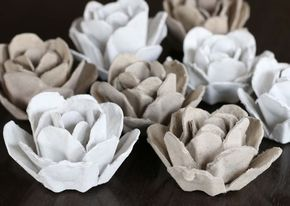 Learn how to turn your egg cartons into beautiful decorative roses. DIY and embellish a wreath, mirror, frame, etc with these roses. Step by step instructions. Great upcycle! Jasmin Fisher