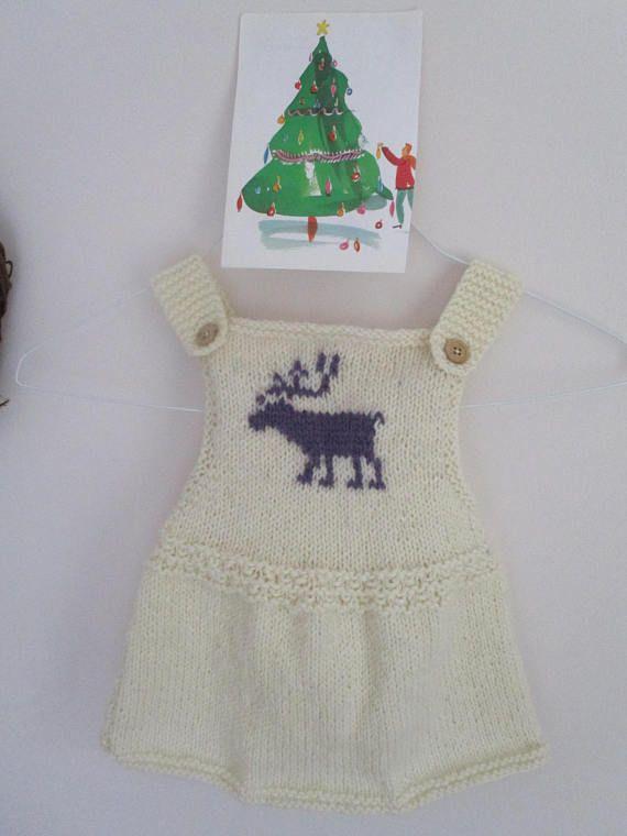 Reindeer baby girl  winter pinafore  dress   handmade baby
