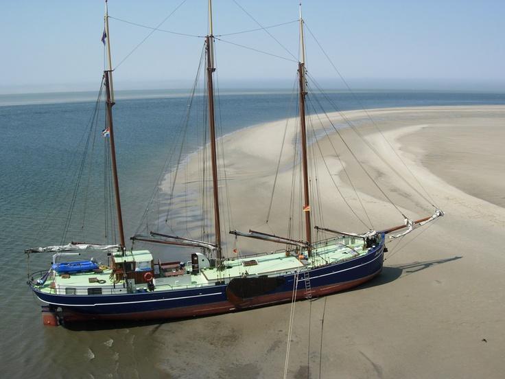 Droogvallen in het prachtige natuurgebied van de Waddenzee.