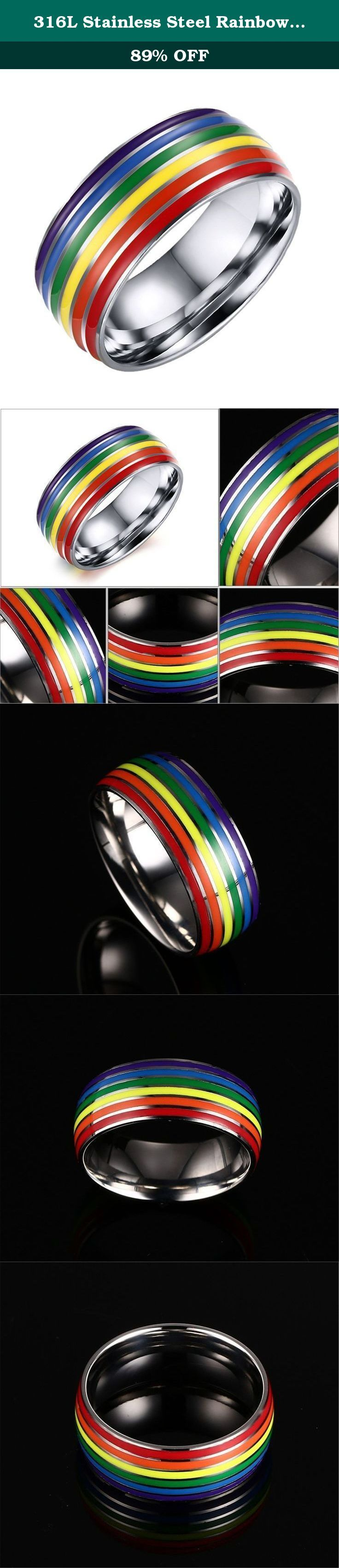 316L Stainless Steel Rainbow Wedding Band Ring for Unisex Lesbian LGBT Gay Lara 10. Unisex LGBT Gay Pride Lesbian Lara 316L Stainless Steel Rainbow Wedding Band Ring 8mm Silver How to know your size: Step 1: Cut a strip of paper long enough to fit around your finger. Step 2: Wrap the paper somewhat tightly around your finger at the knuckle and mark where the two ends meet. Step 3: Measure the length of the paper from the end to your pencil mark. Warm tips: The paper measurement is…