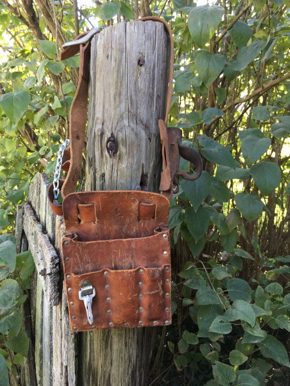 Leather Tool Pouch Klein 5127 Leather Lineman Carpenter Belt - Man Cave Decor - Photo Prop - Yard Art