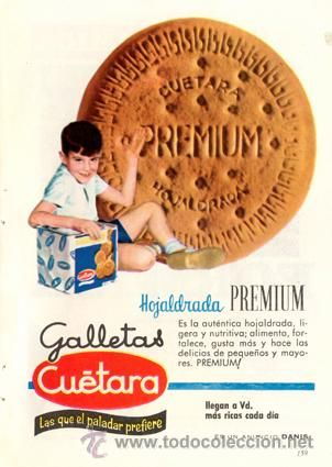 Página publicidad Original *Galletas CUÉTARA. Hojaldrada Premium*  - Agencia DANIS  - Año 1960