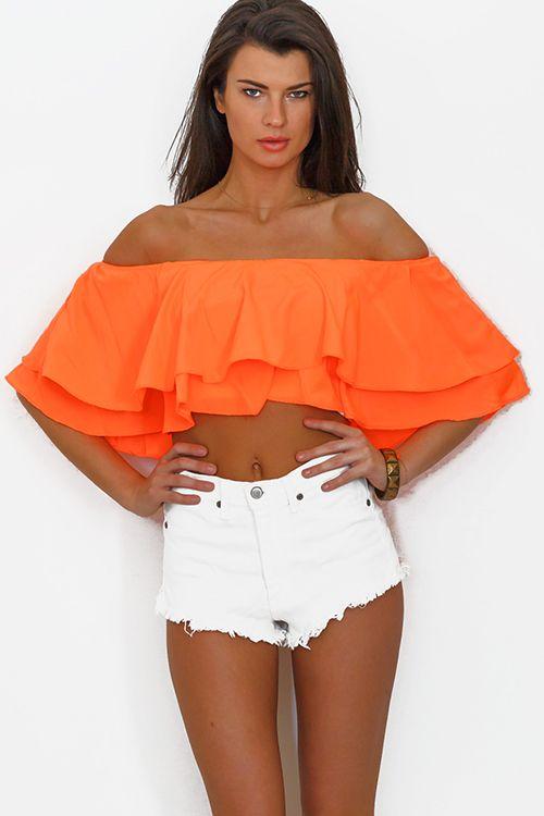 Cute cheap neon orange coral ruffle off shoulder crop top