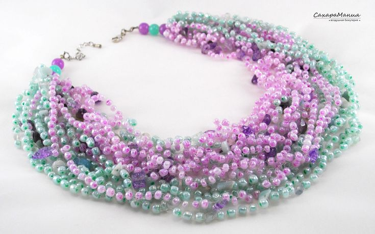 "Elegant necklace ""mint and lilac"" crocheted from several types of beads, glass beads and natural stone-amethyst. A delicate, alluring necklace. Нежное колье ""Мята и Сирень"" связано из нескольких видов бисера, стеклянных бусин и натурального камня-аметиста."