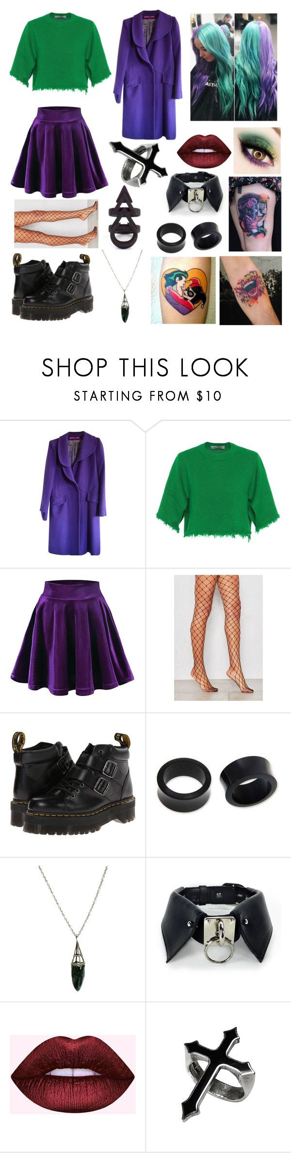"""""""The Joker"""" by spookyjane ❤ liked on Polyvore featuring Emanuel Ungaro, Valentino, Dr. Martens, NOVICA, Evil Twin and Rune NYC"""