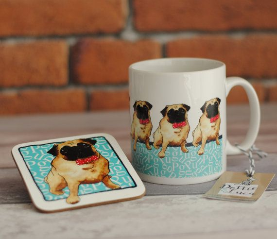 Pug mug.  Illustrated  fawn pug ceramic mug.  by DottieAndLuca