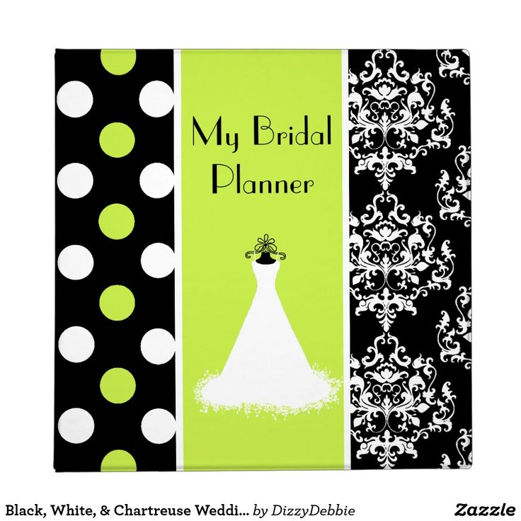 Black, White, & Chartreuse Wedding Planner 3 Ring Binder