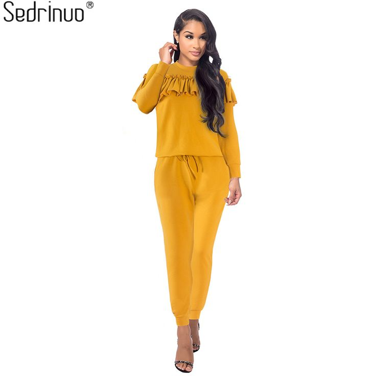 Sedrinuo Two Piece Women Rompers Jumpsuits Ruffles Long Sleeve Bodycon Round Neck Jumpsuit Fashion Elegant Winter on http://ali.pub/0rjqf