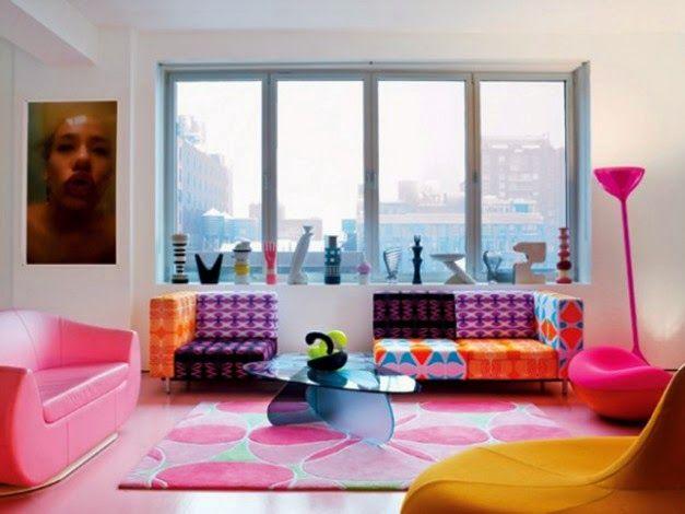 Ide Interior Dekorasi Ruang Tamu Apartemen Warna-warni