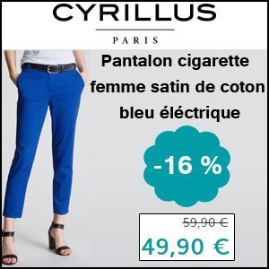 #missbonreduction; 16 % de remise sur le Pantalon cigarette femme satin de coton bleu éléctrique chez Cyrillus.	http://www.miss-bon-reduction.fr//details-bon-reduction-Cyrillus-i228-c1831450.html