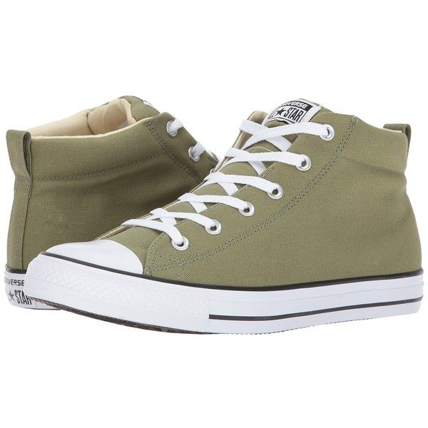 Converse Chuck Taylor All Star Street Mid (Fatigue Green/Black)... ($60) ❤ liked on Polyvore featuring shoes, sneakers, olive green shoes, striped sneakers, black laced shoes, star sneakers and grip trainer