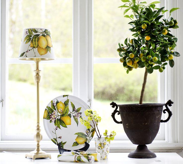 Bricka och lampskärm i Cello/citron mönster
