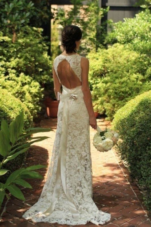 Keyhole Back Floor-Length Sheath Lace Wedding Dress WD095