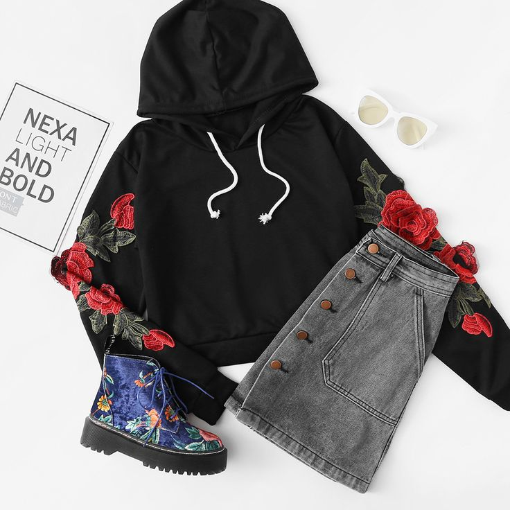 Embroidered Rose Applique Sleeve Hoodie