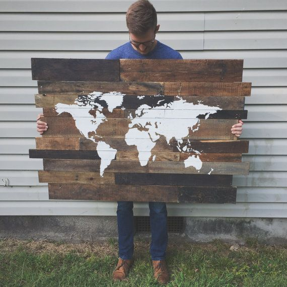 Rustic Wooden World Map by crtcreative on Etsy
