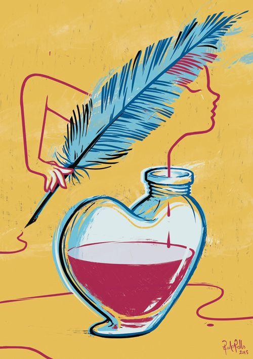"""Half full heart"", Illustration for Think different festival 2015. Exhibition in Lecce, Italy.  www.paolarollo.com"