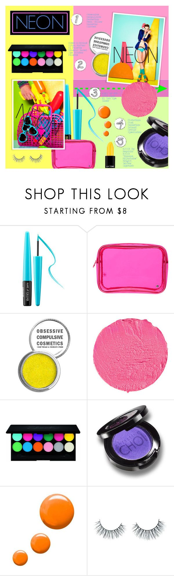 """""""Neon Beauty"""" by arrow1067 ❤ liked on Polyvore featuring beauty, MAKE UP FOR EVER, Stephanie Johnson, Obsessive Compulsive Cosmetics, Givenchy, Christina Choi Cosmetics, Topshop, Unicorn Lashes and neonbeauty"""