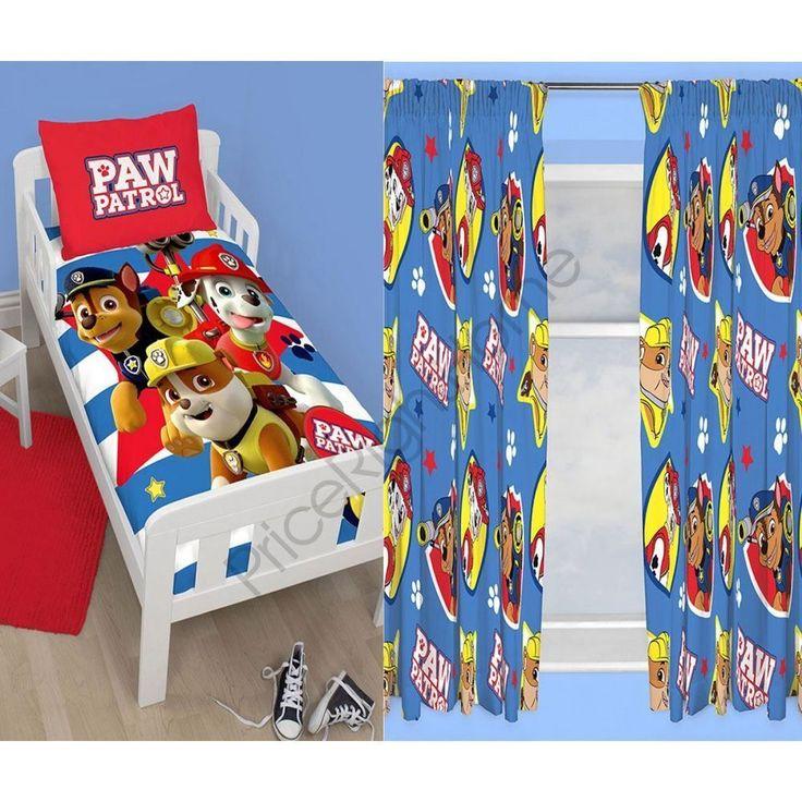 "Paw Patrol Junior Toddler Bed Duvet Cover Set + Matching 54"" Curtains Bedding"