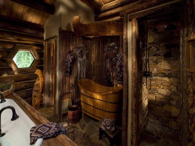 Log Cabin Bathroom Homes Pinterest