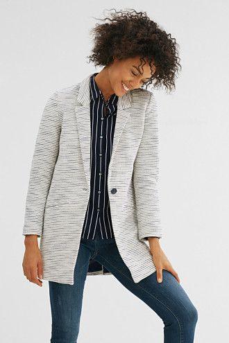 Esprit / Manteau cintré à rayures jacquard