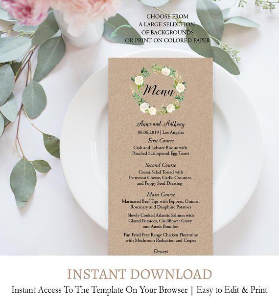 instant download wedding menu elegant wedding menu wedding menu