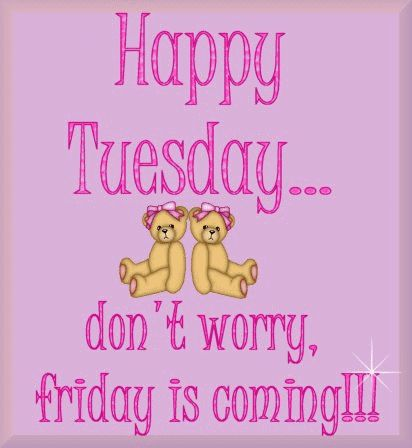 Happy Tuesday...Don't worry, Friday is coming! days days of the week teddy bears weekdays tuesday happy tuesday tuesday greeting