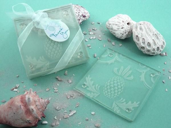 """""""Warm Welcome"""" Tropical Pineapple Glass Coasters (Set of 2)  **LIMITED STOCK**"""