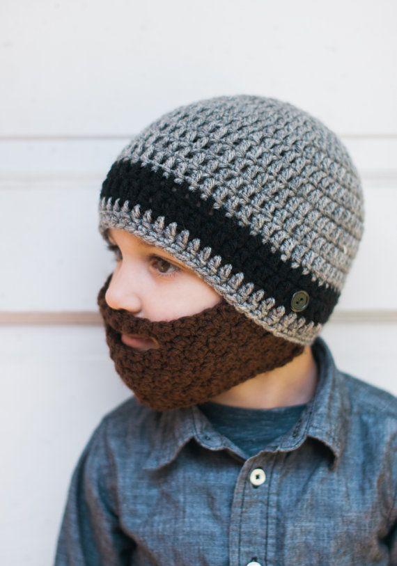 Crochet Beard Hat with detachable beard Baby beard hat