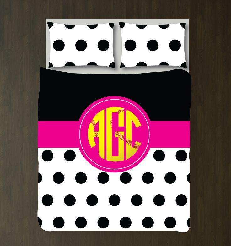 You eat, sleep and breathe softball, so why not dream about it under your new softballthemed duvet cover? You can choose ANY of the colors from our palette for the bedding set or order it in the yellow, hot pink, black and white color combo shown. This custom bedding is the perfect room decor for any girl or teen softball player. Great kids sports themed Christmas present or birthday gift for athletes.