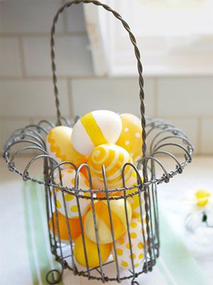 Easter: Decorated in dazzling, daffodil-inspired yellows, hard-cooked, blown, or wooden eggs go sunny-side up. Just paint on dots, stripes, and swirls (but don't eat these).