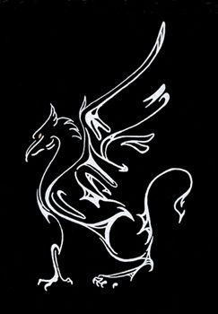 Tribal-style griffin tattoo.