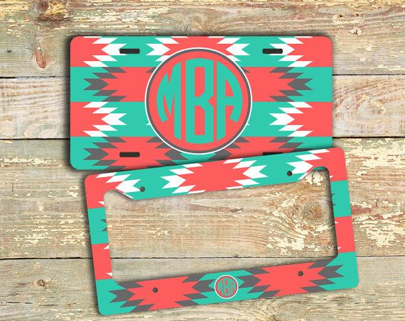 Car tag Monogram license plate or frame - Turquoise and coral Aztec pattern - monogrammed bike license plate car accessory auto (1259) on Etsy, $12.99