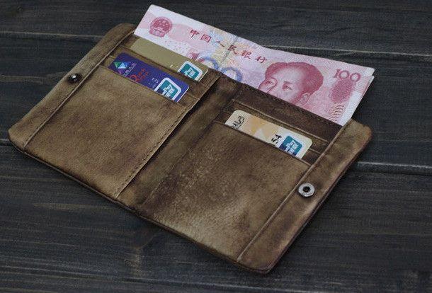 Handmade Men short leather wallet men vintage brown gray card wallet f | EverHandmade