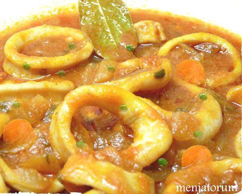 Calamares estofados en salsa