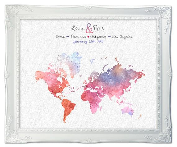 Wedding Guest Book Map  Watercolor Custom Map  Custom by luzdesign