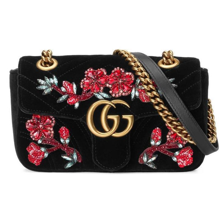 Collection Gucci Chaussures Sacs Gucci Gg Marmont Sac Mini Velours Brode Shoulder Bag Women Mini Shoulder Bag Chain Shoulder Bag