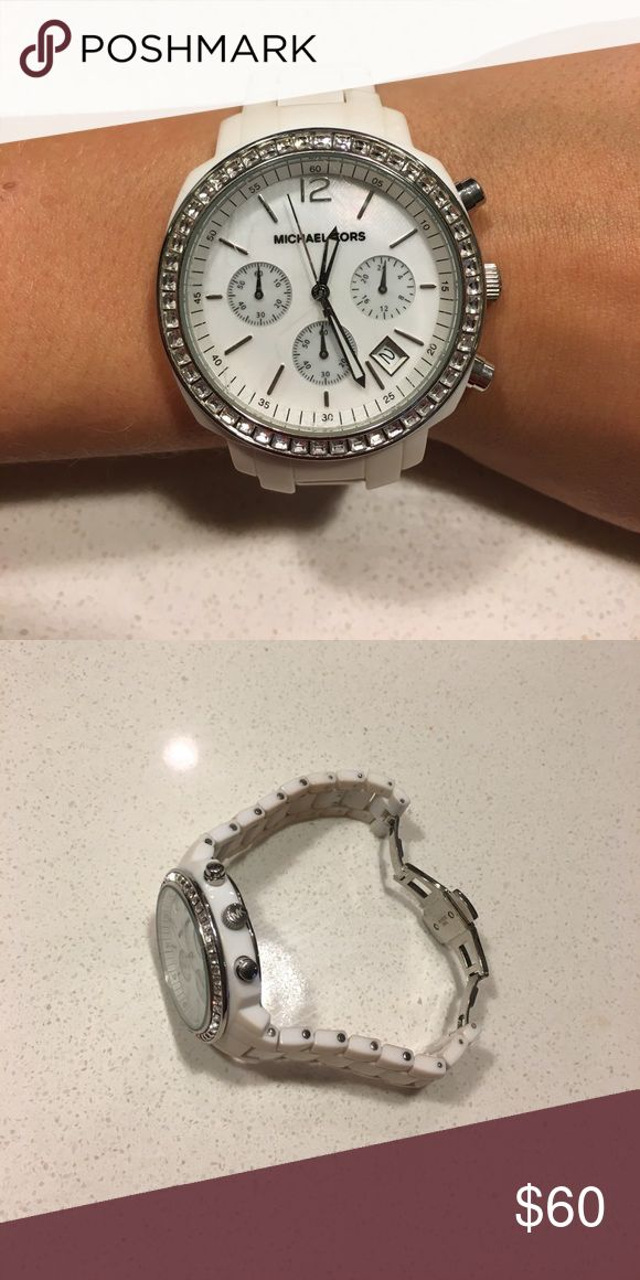 Michael Kors white watch White Michael Kors watch. Will fit better on small wrists Michael Kors Accessories Watches