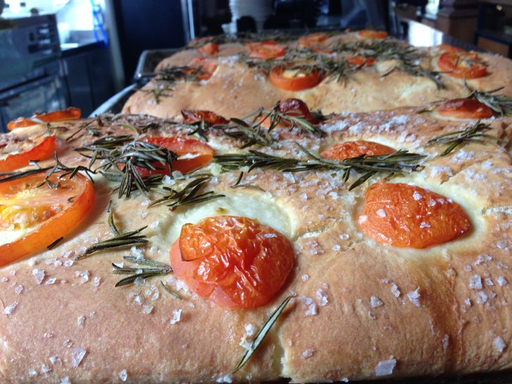 Freshly baked tomato and olive bread for The gallery restaurant