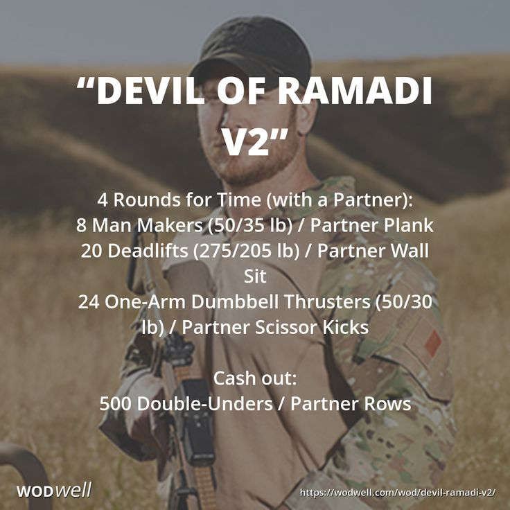 """DEVIL OF RAMADI V2"" Chris Kyle Hero WOD: 4 Rounds for Time (with a Partner): 8 Man Makers (50/35 lb) / Partner Plank; 20 Deadlifts (275/205 lb) / Partner Wall Sit; 24 One-Arm Dumbbell Thrusters (50/30 lb) / Partner Scissor Kicks; Cash out:; 500 Double-Unders / Partner Rows"