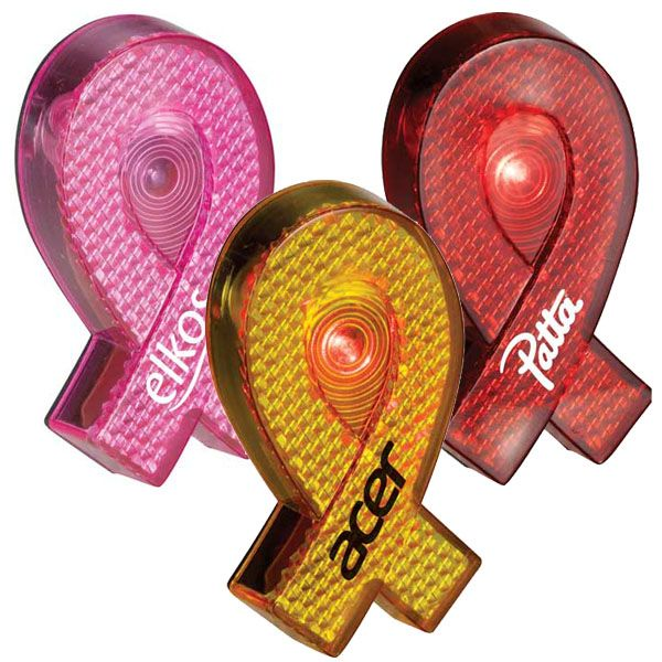 Awareness ribbon light up pins!! Imprint with your logo and get noticed!!!    Light up awareness for your cause!    Red LED light flashes when turned on. Power on/off switch on back. Belt clip.